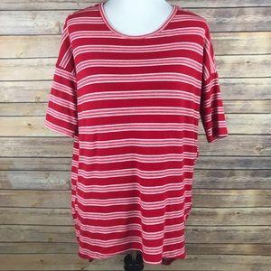 LuLaRoe XS Red White Striped Irma